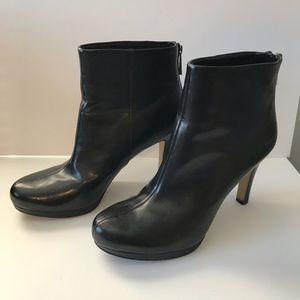 Franco Sarto black leather heel booties